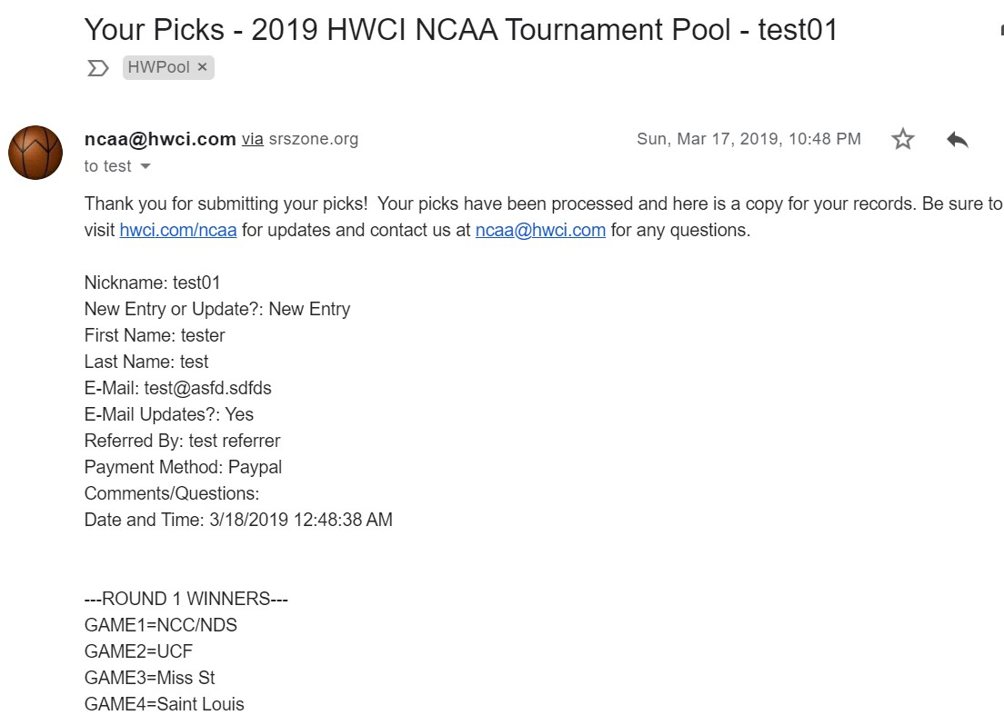 HWCI NCAA Entry Form Email